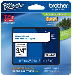 TZe243 Blue On White Ptouch Tape