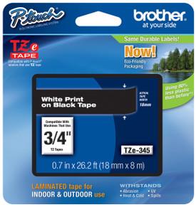TZe345 White On Black Ptouch Tape