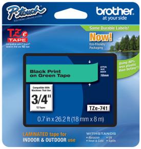 TZe741 Black On Green Ptouch Tape