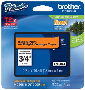 TZeB41 Black on Florescent Orange Ptouch Tape