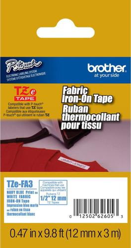 TZeFA3 Nay On White Fabric Iron On Ptouch Tape