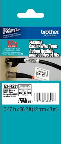 TZeFX231 Black On White Flexible Ptouch Tape