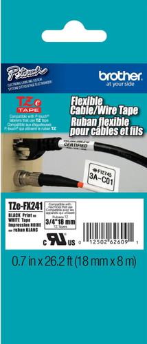 TZeFX241 Black On White Flexible Ptouch Tape