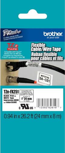 TZeFX251 Black On White Flexible Ptouch Tape