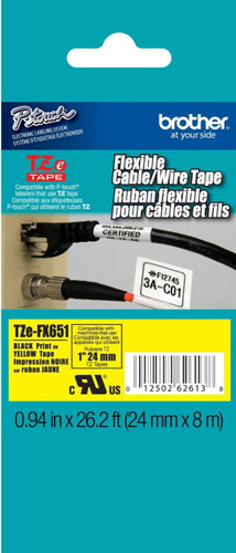 TZeFX651 Black On Yellow Flexible Ptouch Tape