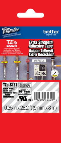 TZeS121 Black On Clear Extra Strength Ptouch Tape