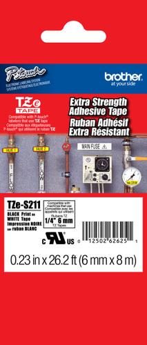 TZeS211 Black On White Extra Strength PTouch Tape