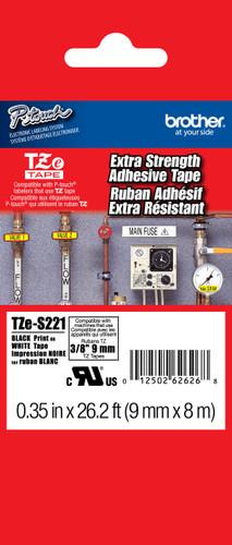 TZeS221 Black On White Extra Strength PTouch Tape