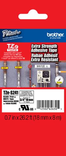 TZeS241 Black On White Extra Strength PTouch Tape