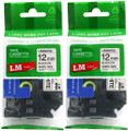 "LM Tape Compatible with Brother TZe-231-2PK 1/2"" Black On White P-touch Tape, 12mm Twin Pack"