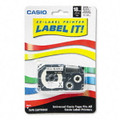 Casio XR118BKS 18mm Black on White Iron-On Transfer Tape, 1/Pack