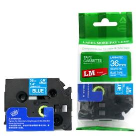 LME565 white lettering on blue label tape