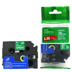 LME565 white lettering on green label tape