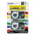 Casio XR18WE2S 18mm Black on White Tape Cassettes, 2/Pack