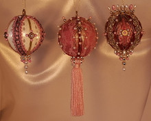 Handmade Ornaments - Special Sets of Three - Save 40%!! – Mauve, Rose, and Burgundy Set