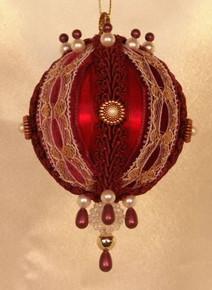"Handmade Christmas Ornaments ""Rowena"" (burgundy)"