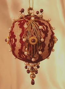"Handmade Christmas Ornaments ""Burgundy Lace"""