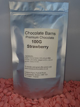 Chocolate Barns Premium STRAWBERRY Chocolate Buttons/Chips/Callets 100G