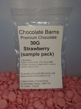 Chocolate Barns Premium STRAWBERRY Chocolate Buttons/Chips/Callets 30G Sample Pack