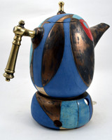 Short Blue Angel Tea or Coffee Pot (With TeaLight Holder)