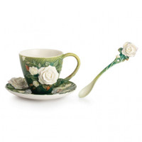 Van Gogh White Roses Cup/Saucer/Spoon