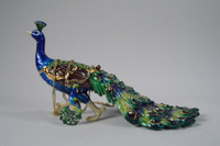 Strutting Peacock Jewelry Box with Necklace
