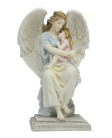 Guardian Angel Sitting And Holding A Little Girl (Pastel)
