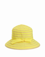 Kid's Ribbon and Straw Bucket Hat (5-7 YRS YELLOW)