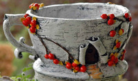 Birch Bark Tea Cup Planter
