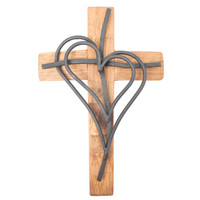 Double Heart Cross 14""