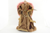 Brown and Pink Fur Lace Angel Tree Topper
