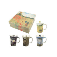 Monet set of 4 Artisanal fine Bone China Mugs