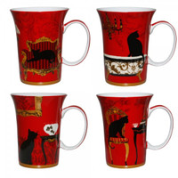 Mystical & Curious Cats Set of 4 Fine Bone China Mugs