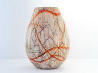 Beige Vase with Orange Crackles