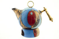 Short Blue Tea or Coffee Pot (With Tealight Holder)