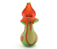 Green and Red Wild Flower Vase with Spots