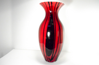 Black and Red Striped Glass Vase