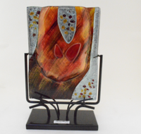 Orange Rectangle Vase with Stand