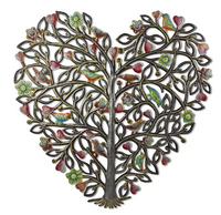 Painted Heart Tree Metal Wall Art