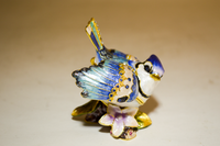 Blooming Blue Jay Jewelry Box with Necklace
