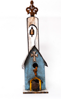 Hand-Made Blue Birdhouse with Bell