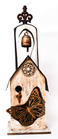 Hand-Made Butterfly Bird House with Bell