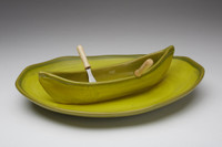 Avacado and Gold Canoe on a Lake Gift Set