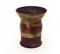Large Brown and Green Striped Vase