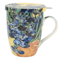 Van Gogh Irises Tea Mug with Infuser & Lid