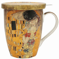 Klimt The Kiss Tea Mug with Infuser & Lid