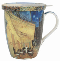 Van Gogh Cafe Terrace at Night Tea Mug with Infuser & Lid