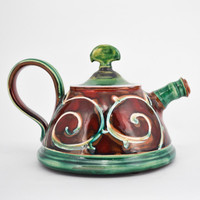 Short Red and Green Teapot