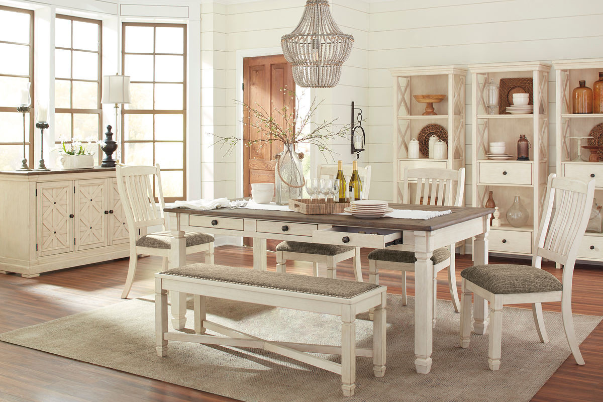 The Bolanburg Antique White 10 Pc Rectangular Dining Room Table 4 Upholstered Side Chairs Upholstered Dining Room Bench Dining Room Server 3 Display Cabinets From Signature Design By Ashley Is Available