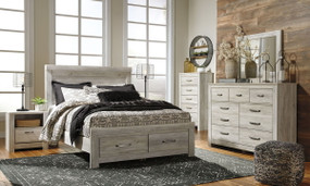 Bellaby Whitewash 6 Pc. Dresser, Mirror & Queen Panel Storage Bed